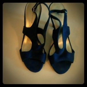 Blue velvet/swade low heels